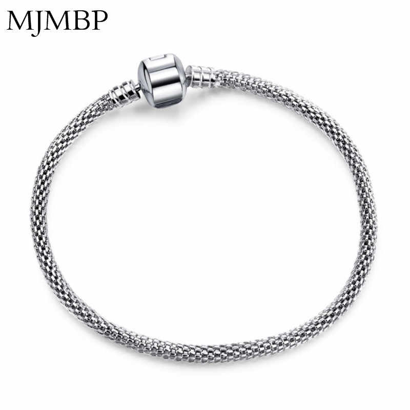 New Basic Snake Chain Bracelet DIY Charm Bead Jewelry NOT FADE Original Pandoraa For Bracelets & Bangles Color protection