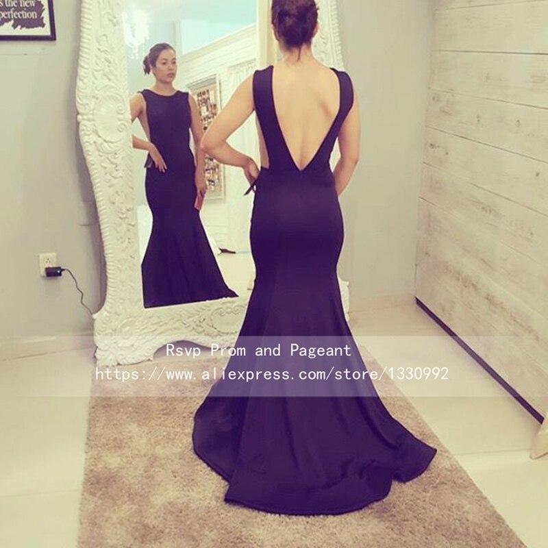 Boat neck sin mangas negro vestidos de satén elástico vestidos de ...