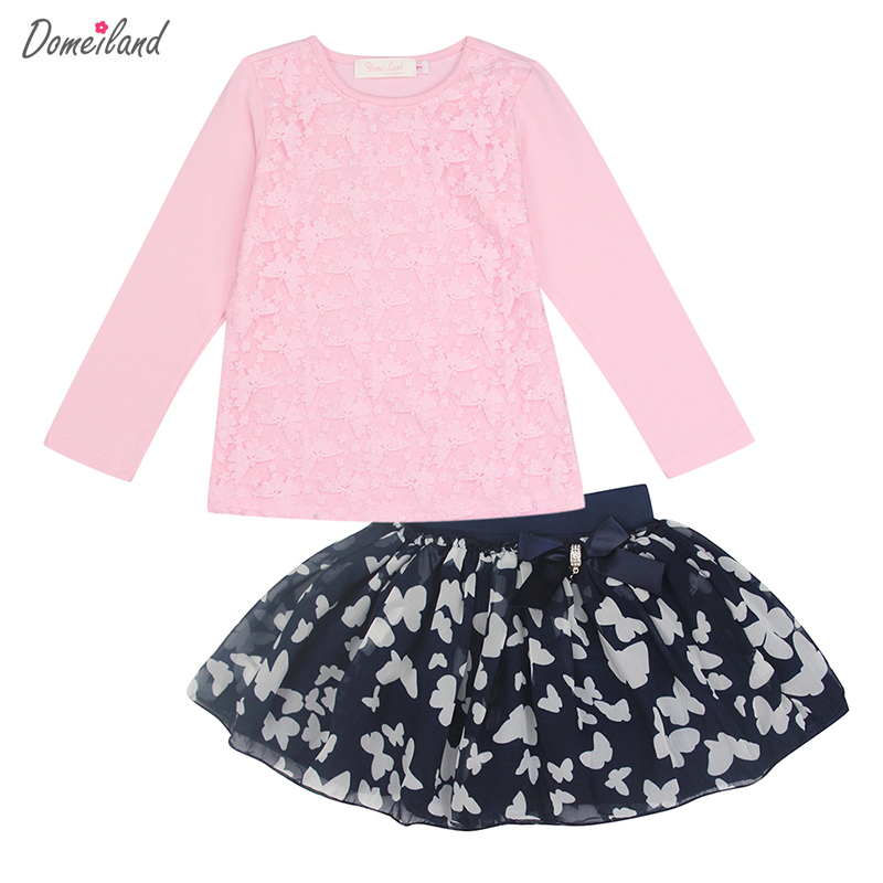 2017 Fashion spring brand domeiland baby clothing Outfits Sets Kids Girl Long Sleeve cute lace Shirts print bow skirts clothes 2017 new style spring autumn hoodie baby girl clothing set sequin lace long sleeve velour sports jacket long trousers outfits