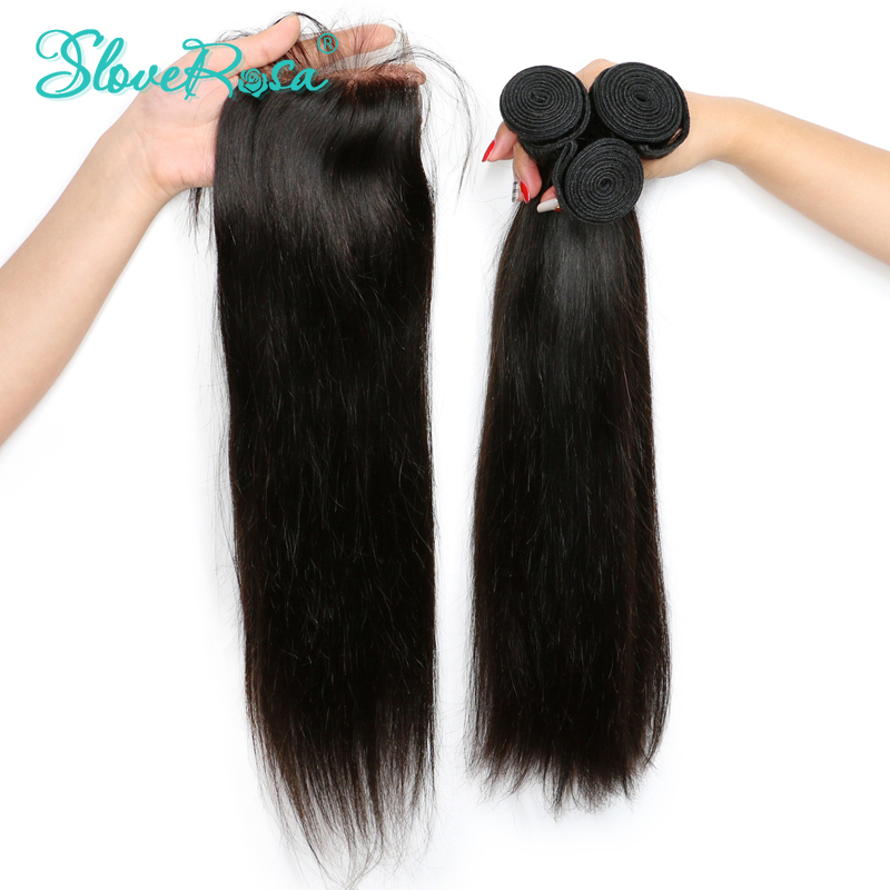 3 Bundles With Closure Remy Brazilian Straight Weave Human Hair