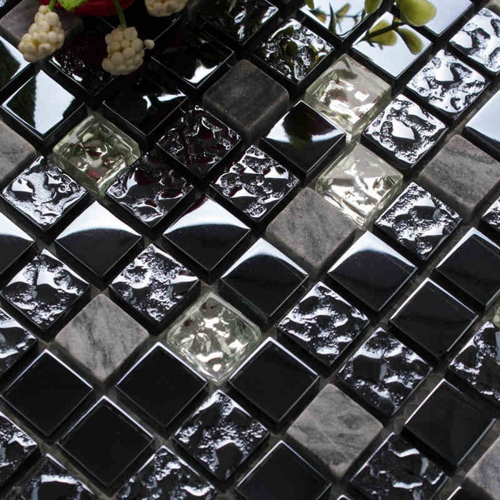 Square Black Glass Mixed Bray Stone Tiles For Kitchen Backsplash