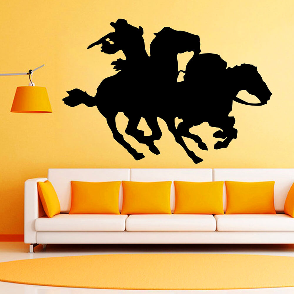 popular cowboy wall decals buy cheap cowboy wall decals lots from zuczug black pvc wall stickers equestrian wild west cowboy mustang 3d removable wall decals home decor