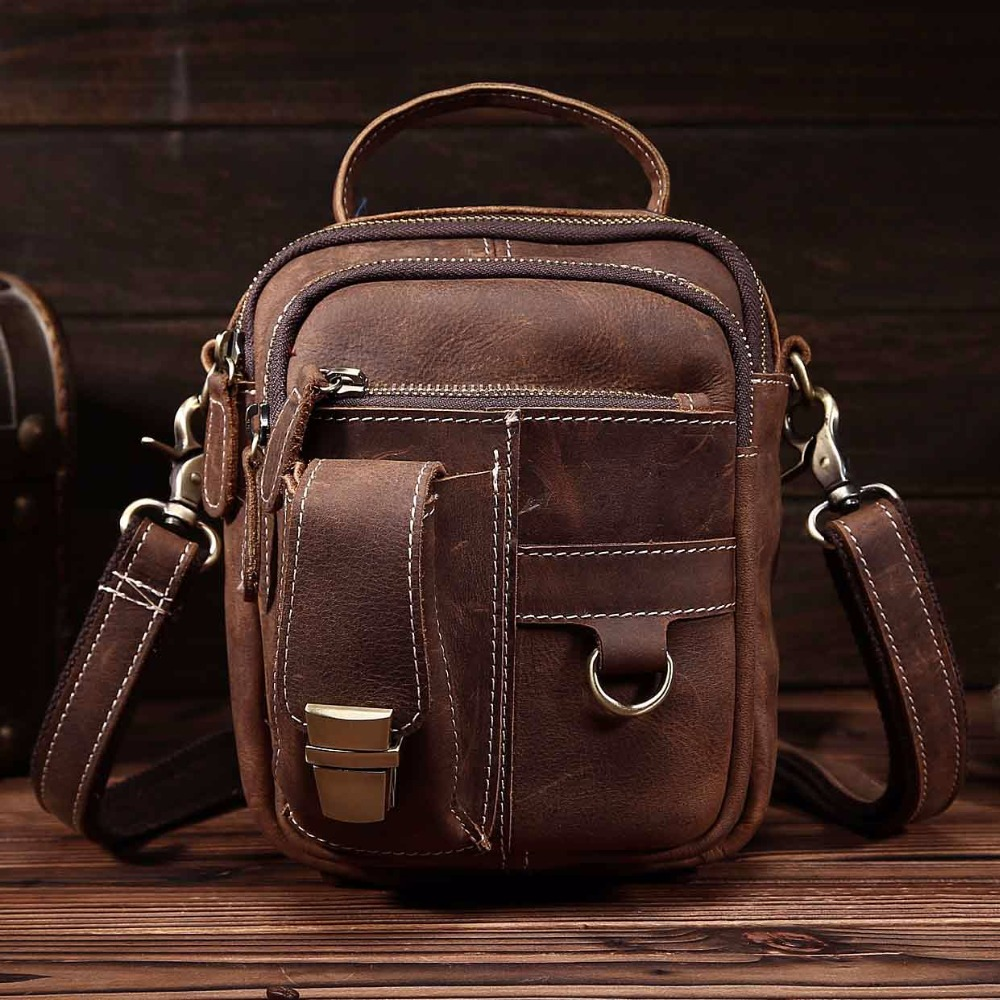 NEWEEKEND 3004 Retro Genuine Leather Crazy Horse Multifunction Zipper Pockets Waist Handbag Shoulder Crossbody Bag for Man neweekend 1005 vintage genuine leather crazy horse large 4 pockets camera crossbody briefcase handbag laptop ipad bag for man