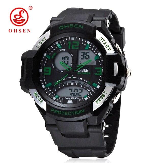 46547a26e جديد ohsen ماركة الرقمية الكوارتز أزياء رجالي ساعة اليد 50 متر الغوص المطاط  حزام أخضر بارد