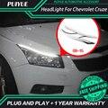 PUIYUE стайлинга Автомобилей Freeshipping 9600Lm Для 2009-2015 Chevrolet Cruze Фары Автомобиля Angel Eyes LED Бровей Дневного Света