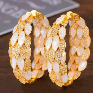 Image 3 - Godki luxo pavão abalone escudo declaração grande argola brincos para o casamento feminino zircon cúbico dubai nupcial círculo hoop brinco