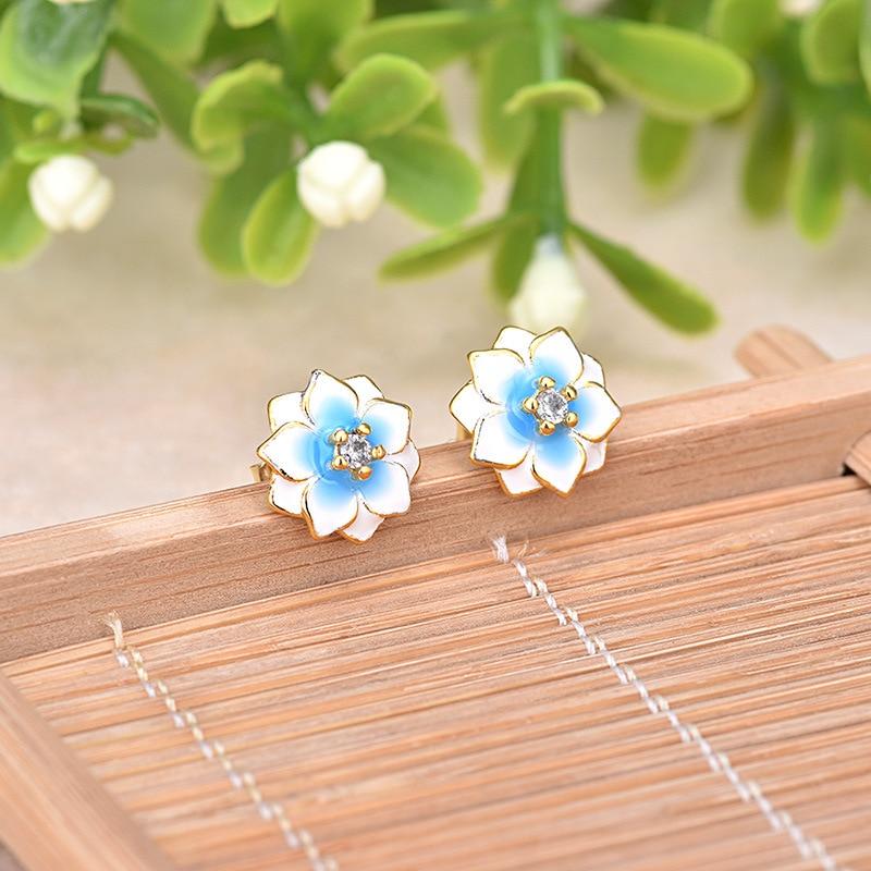 Korea elegant Magnolia flower earrings Fine Epoxy Craft paint porcelain female models female temperament Stud earring