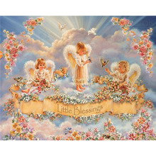 Cross Stitch Kit DIY Diamond Embroidery Three Little Angels Full Square/round Diamond Painting Mosaic Home Decor