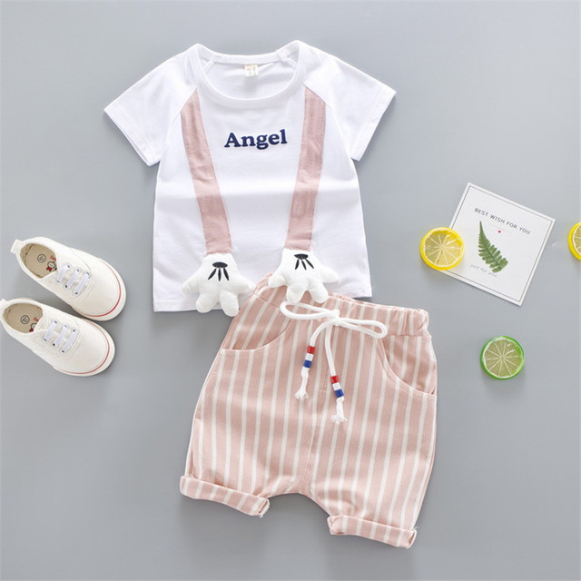"2-Piece Cute Letter Print ""Angle"" Top with Striped Pants Set for Baby / Toddler"