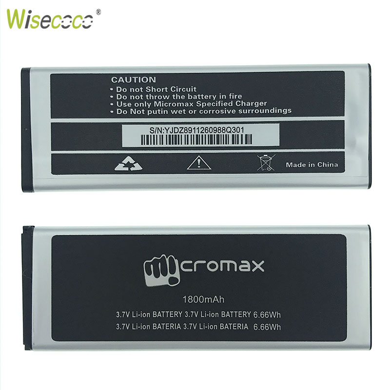 WISECOCO 1800mAh Battery For Micromax Q301 Mobile Phone With In Stock Latest Production Tracking Number in Mobile Phone Batteries from Cellphones Telecommunications