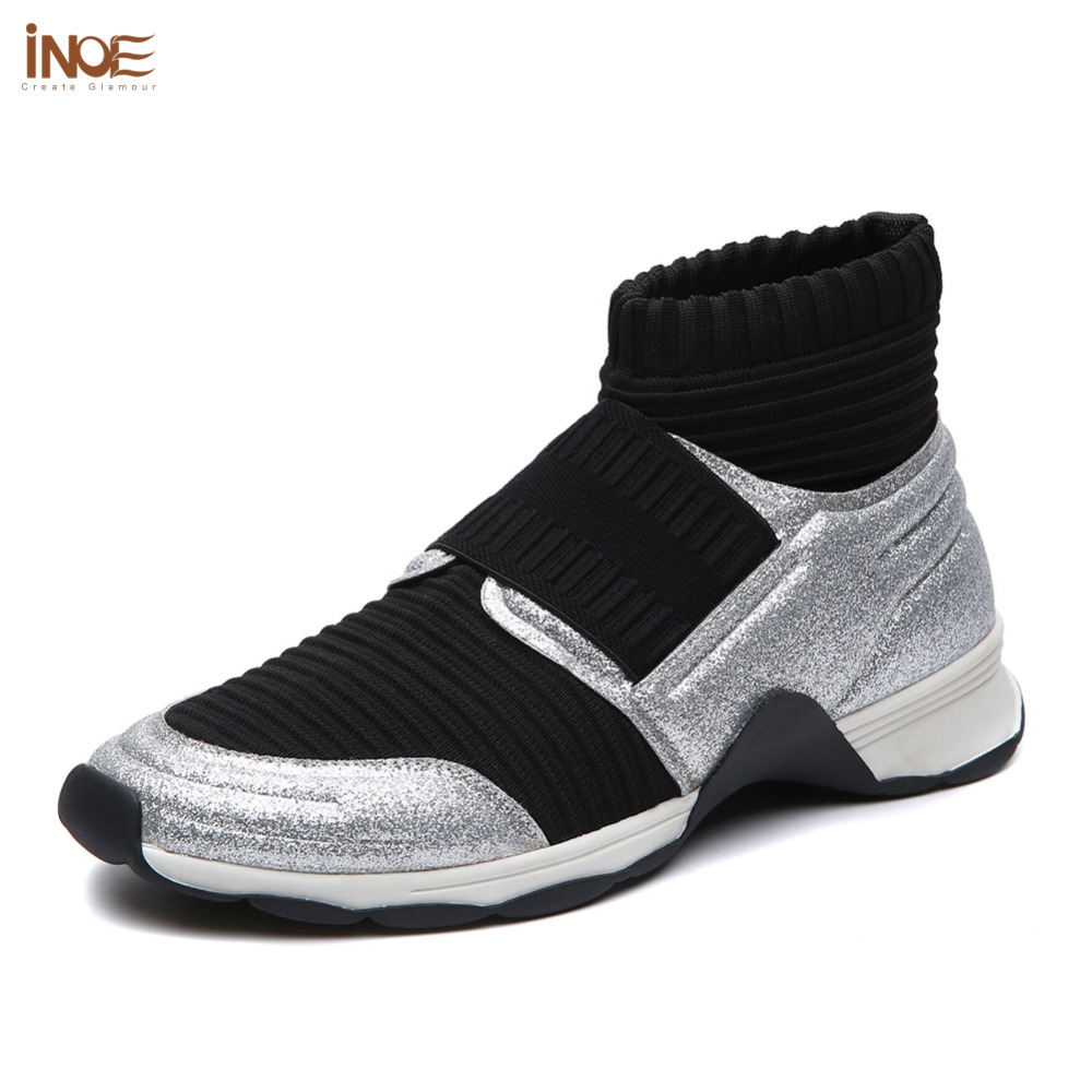 INOE New arrival style air mesh breathable women sneakers spring & autumn shoes casual flats soft black color walking shoes instantarts 2018 new fashion women casual flats anatomical hearts pattern air mesh sneakers breathable female flat shoes woman