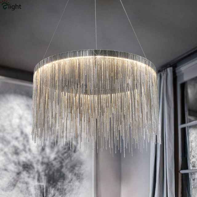 Modern Lustre Tassel Led Pendant Lights Chrome Metal Dining Room Led ...