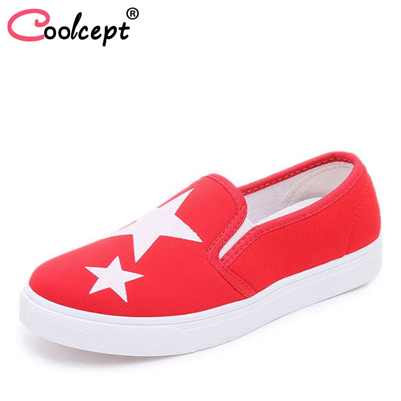 Coolcept Ladies canvas Shoes Fashion Tide Style Spring Summer Women Flat Shoes Slip on Breathable Women's Shoes Flats Size 35-40 2018 women summer slip on breathable flat shoes leisure female footwear fashion ladies canvas shoes women casual shoes hld919
