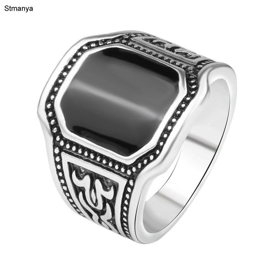 Hot Antique Silver Jewelry For Man Silver Ring High Quality Fashion Jewelry Free anti-allergy insets Rectangular Ring 20053