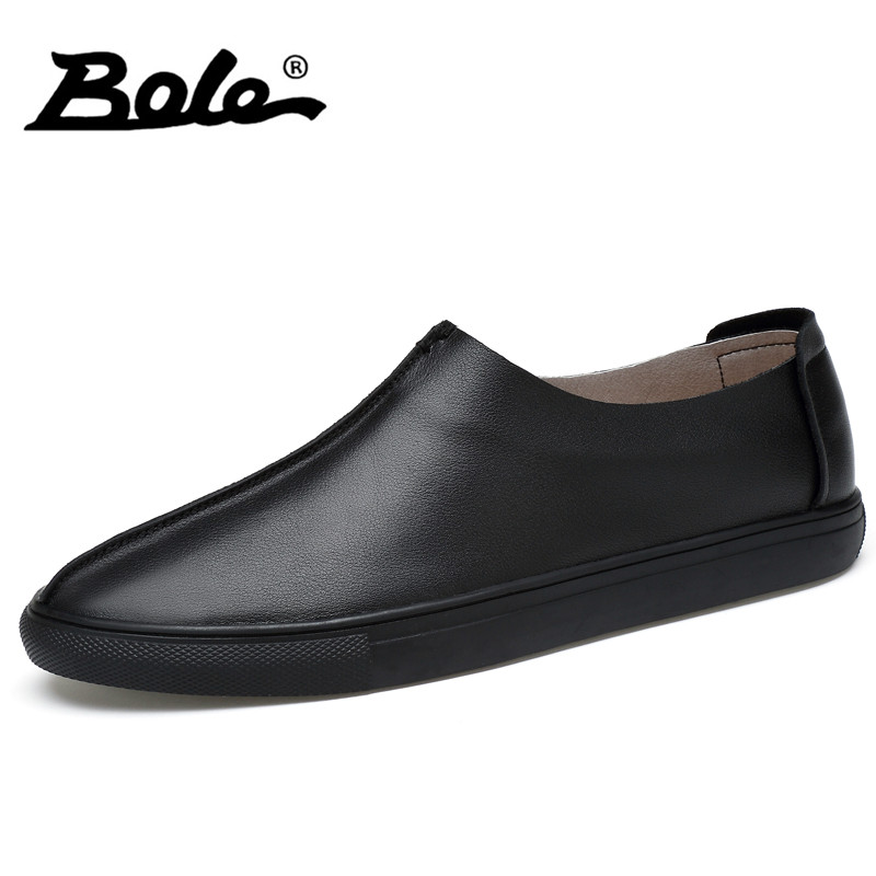 BOLE New Design Handmade Genuine Leather Men Shoes Fashion Walking Slip on Classic Casual Shoes Men Breathable Loafers Men Flats dxkzmcm new men flats cow genuine leather slip on casual shoes men loafers moccasins sapatos men oxfords