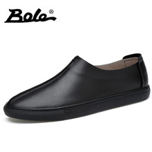 BOLE New Design Handmade Genuine Leather Men Shoes Fashion Walking Slip on Classic Casual Shoes Men Breathable Loafers Men Flats