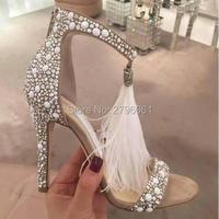 Fashion Brand Crystal Embellished White High Heel Sandals With Feather Fringe Rhinestone Sandals Bridal Wedding Shoes