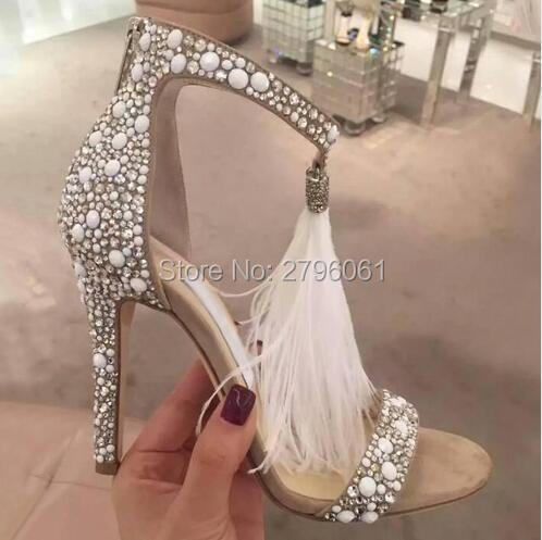 Fashion Brand Crystal Embellished White High Heel Sandals With Feather Fringe Rhinestone Sandals Bridal Wedding Shoes For Women brand feather white high heel women sandals for wedding personal romantic princess pumps sandalias masculinas wholesale