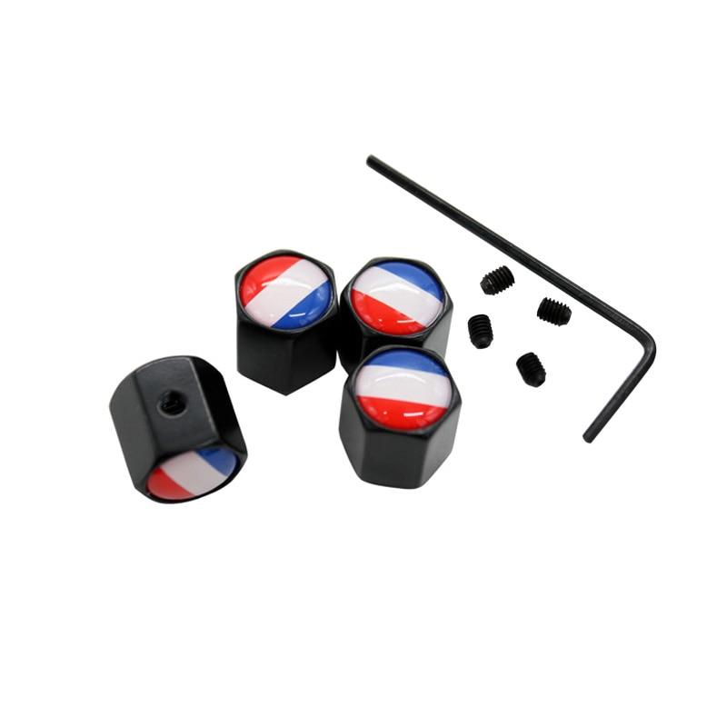 4Pcs/Set France Flag Logo Theftproof Stainless Steel Black Wheel Tire Valve Stem Air Caps Auto Styling For Peugeot Citron