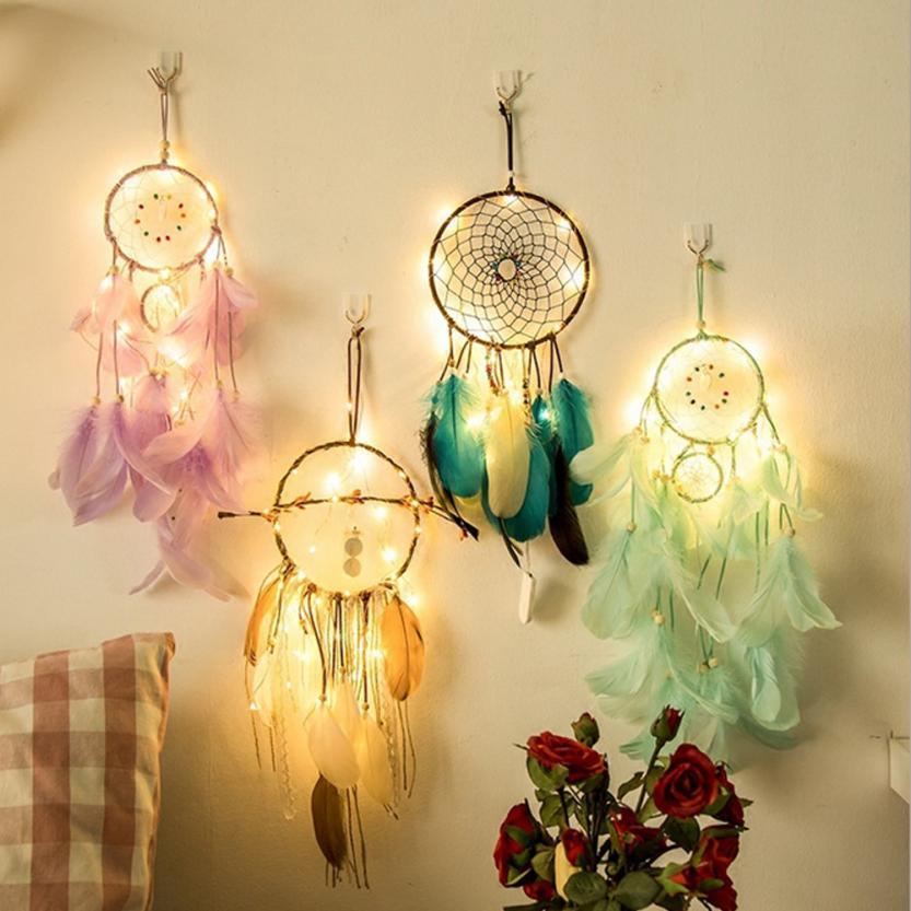 Hause Wohnzimmer Dreamcatcher 2 Meter 20LED Beleuchtung Mädchen Zimmer Glocke Schlafzimmer Romantische Dekoration LED-Licht Dreamcatcher 50 p