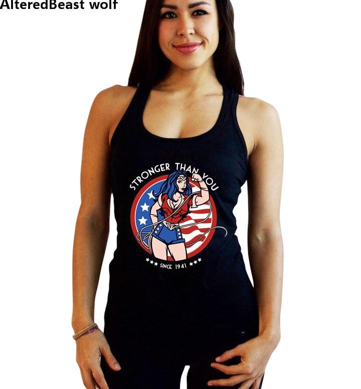 2018 Wonder Woman Vest Female Sexy Black   Tank     Tops   Undershirt cropped Blusas Bodybuilding Fitness Sleeveless Vest workout   Tops