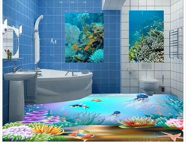 3d wallpaper custom 3d wall floor painting wallpaper 3 d underwater world floor tile of the ground room photo floor wallpaer ...