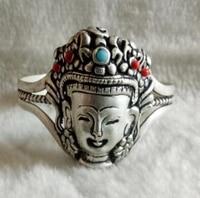 Venda quente nova-turquesas Tibetano de prata Artesanais Atacado ou coral Buddism godness pulseira cuff frete grátis