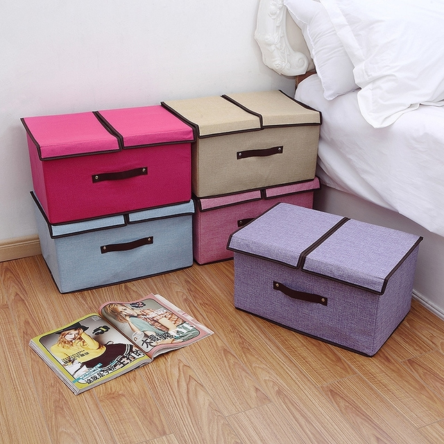 New Foldable Cotton And Linen Divider Box Clothes Organizer Underwear Storage Bins Toys For Socks