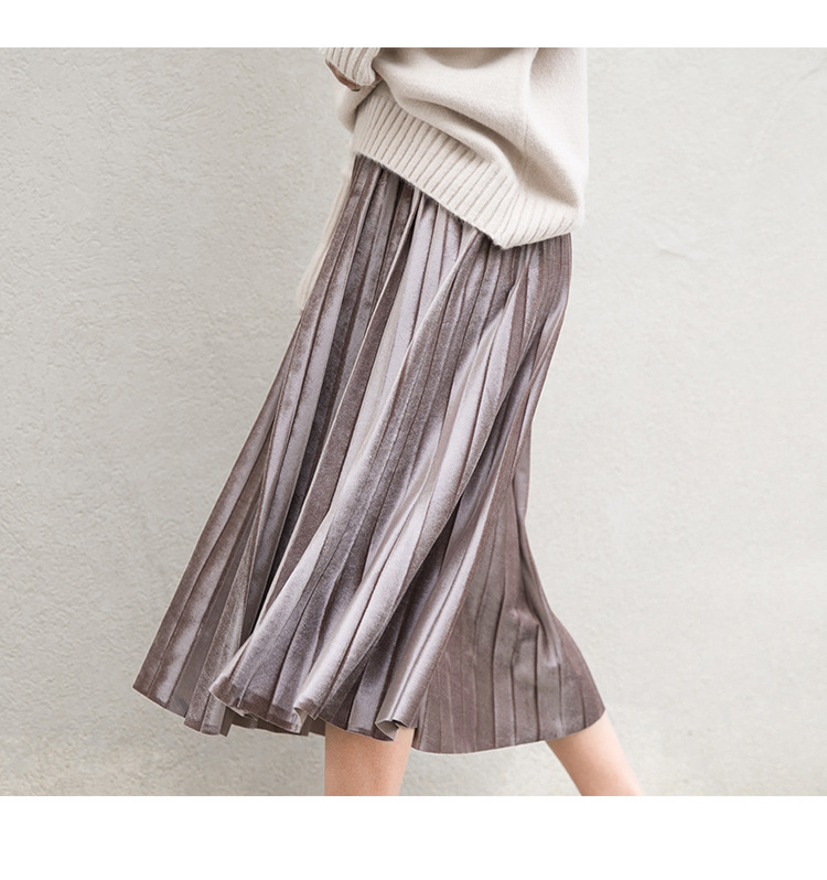Women Long Metallic Silver Maxi Pleated Skirt Midi Skirt High Waist Elascity Casual Party Skirt 12