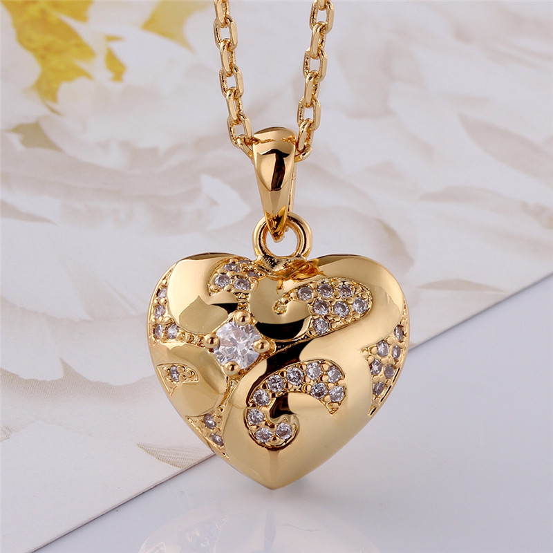 pendant shaped pave in set white diamond heart gold round necklace