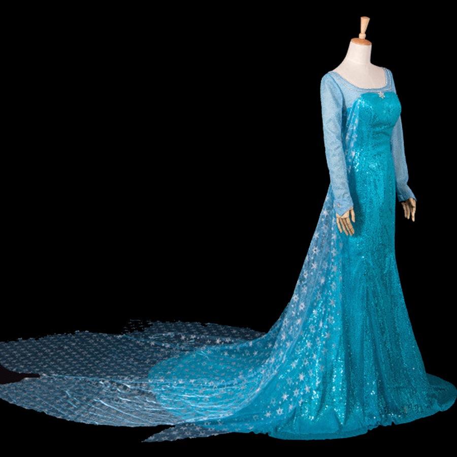 2 styles Adult Princess Elsa Cosplay costume elsa blue dresses ...