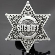 New Vintage Silver Western Texas Sheriff Ranger Cop Star Badge Rodeo Belt Buckle Men`s Gift