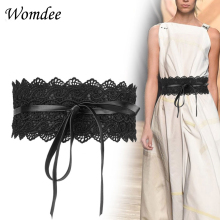 Women's Fashionable Lace Leather Wide Elastic Waist Belt Bow Knot Buckle Wide