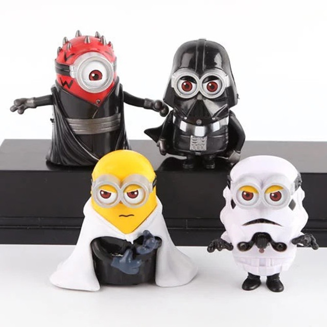 4pcs/set 8cm cute Minion Cos star wars Maul Darth Vader Stormtrooper ...