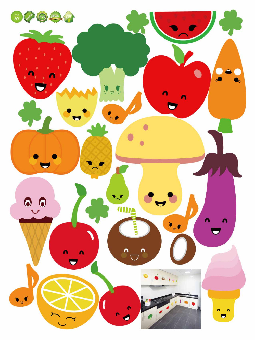 Cartoon of fruits and vegetables kitchen DIY Wall Sticker Home ...