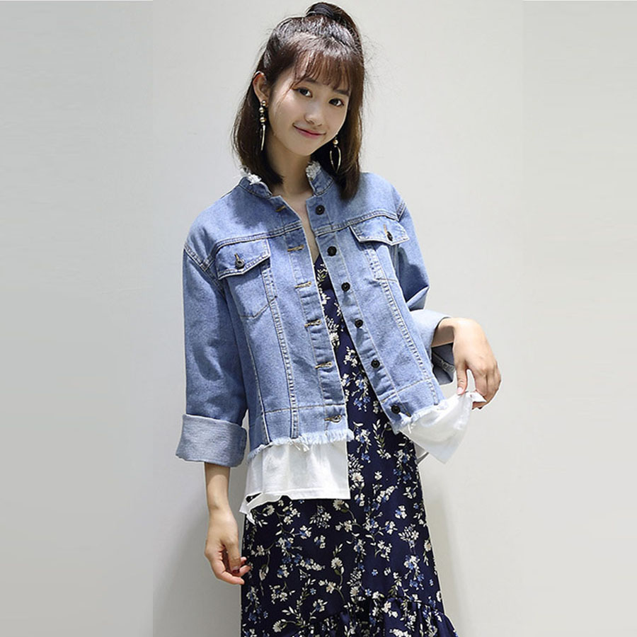 2017 New Arrival Denim Jacket Women Basic Coats  Autumn And Winter Jacket Coats Long Sleeve Loose Jeans Coat Casual Girl Outwear