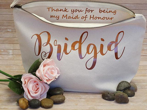 Personalize names maid of honor makeup pouches bridesmaid wedding Gift Make Up Cosmetic Bags Unique Gift for Bridal Party Bags