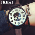 Male and Female Students' Personality Watch Oversized Dial Skull Pattern Leather Watchband Neutral Retro Couple Watches