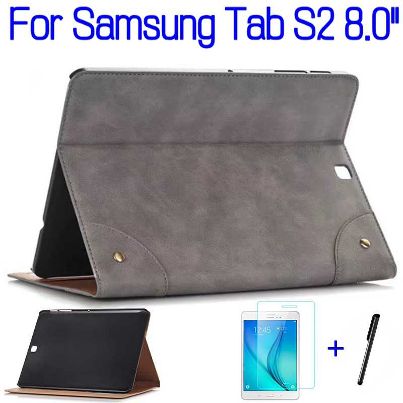 "Ultra-dunne Smart PU Leather Cover Funda Case voor Samsung Galaxy Tab S2 T710 T713 T715 T719 8.0"" tablet + Screen Protector + Pen"