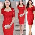 Princesa Kate Middleton Vestido de Renda Vestuário Casual Vestido Vestidos Elegante Manga Curta Lace Red Bodycon Vestidos Plus Size 5XL 6XL