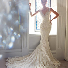 vestidos de novia 2015 New Arrival Fabulous V Neck Sleeveless para casamento Bridal Gown Lace Mermaid Wedding Dresses