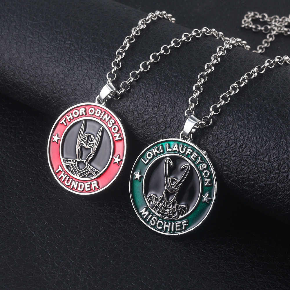 Marvel Avengers Thor Odinson Thunder Necklaces Loki Laufeyson Mischief Long Necklace Metal Link Chain Pendant Men Choker Keyring
