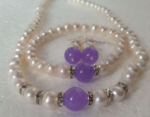 7-8 mm Naturel Rose d/'eau douce collier de perles Boucles d/'oreilles Set AAA