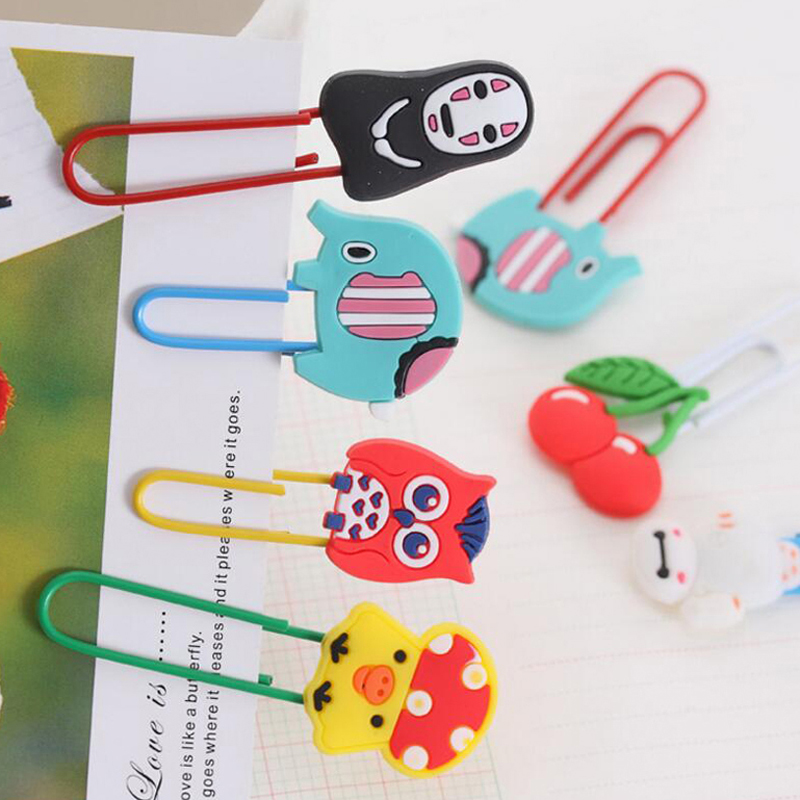 Купить с кэшбэком 20pcs/lot Cute Creative Silicone Cartoon Design Metal Paper Clip DIY Multifunction Bookmark Office School Supplies Free Shipping
