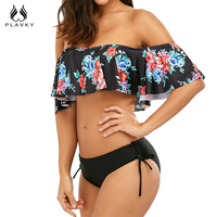 PLAVKY 2017 Sexy Black Floral Off Shoulder Ruffled Biquini Flounced Swim Bathing Suit Swimsuit Swimwear Women