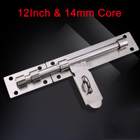 Brand New 12Inch Door Lock Latch Chain Security Bathroom Barrel Bolt Pad Guard 14mm Thickness Solid Core Rod K200/4