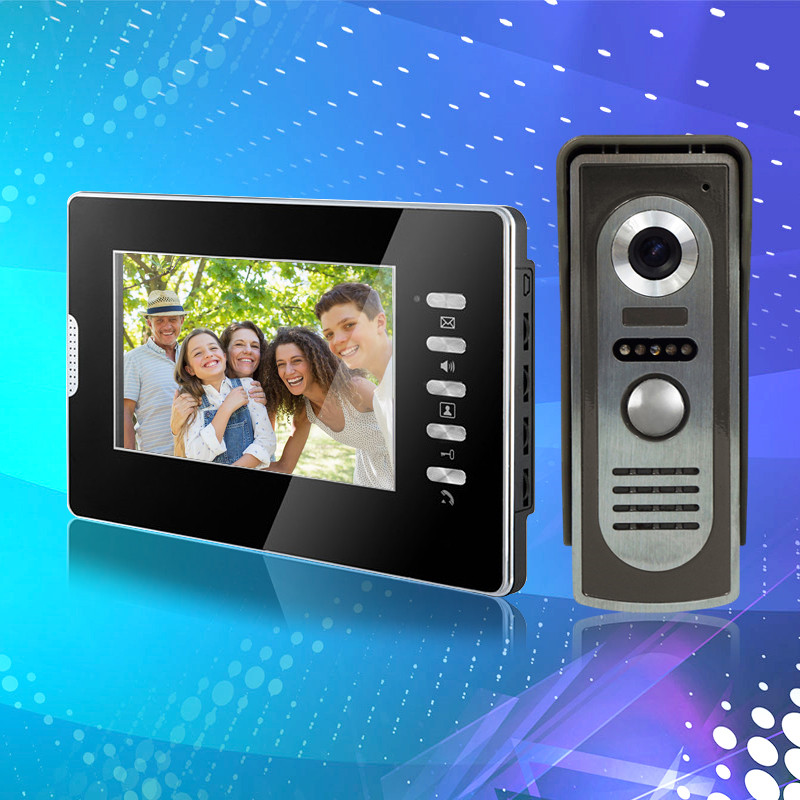7 inch wired color video door phone intercom system with RFID IR COMS outdoor camera video doorbell for home Free fast shipping outdoor video door phone camera for wired video doorbell