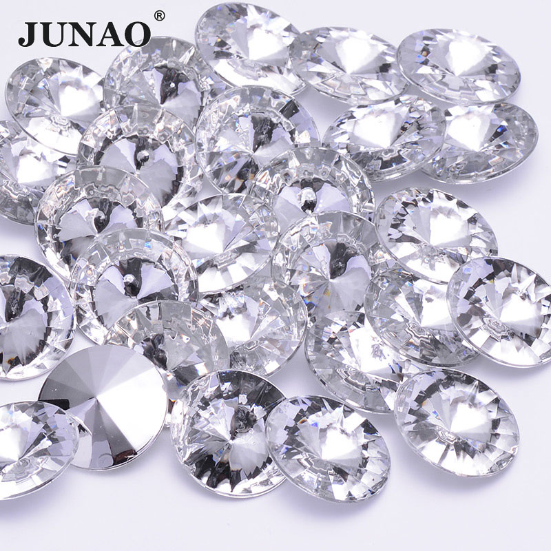 JUNAO на возраст 6, 8, 10, 12 лет 14 16 18 20 30 Ясно грань кристалла Стразы Rivoli не камни горячей фиксации круглый акриловые камни для изготовления ювелирных изделий