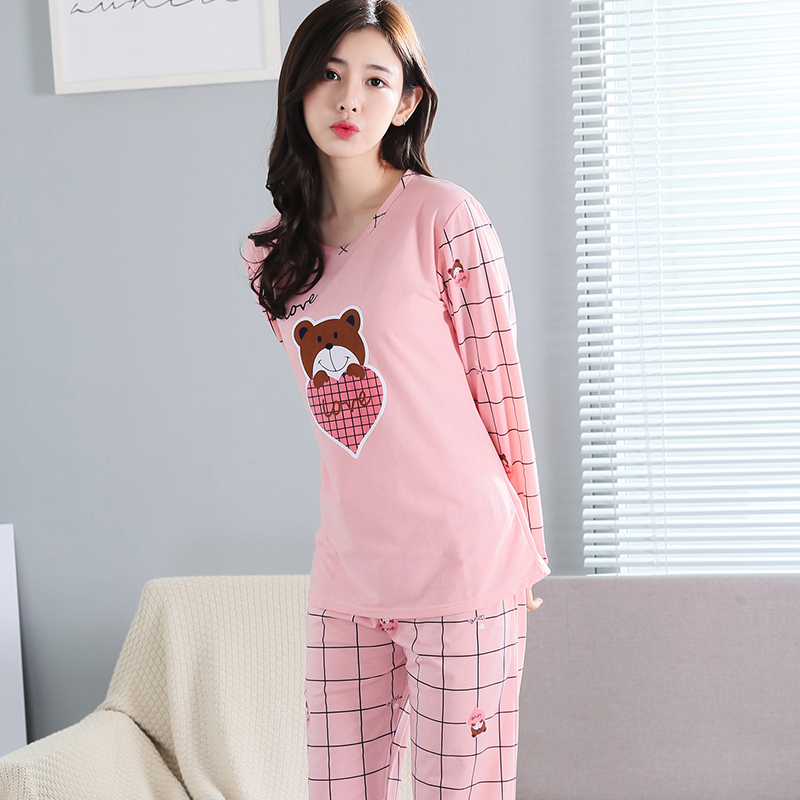 Dropwow Women Pajama Set 2018 hot sale Autumn Long Sleeve thin ... b683fa947