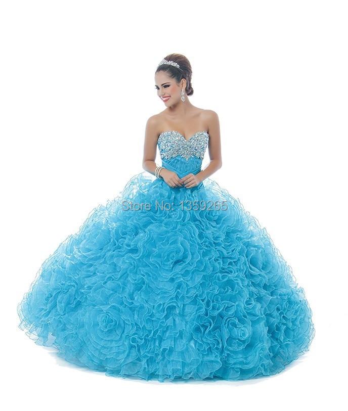 2664fdb41f4 New Arrival 2015 Cinderella Quinceanera Dresses Blue Beading Long Paty Dress  Off Shoulder Vestidos De Gala Organza Ruffles FQ363-in Quinceanera Dresses  from ...